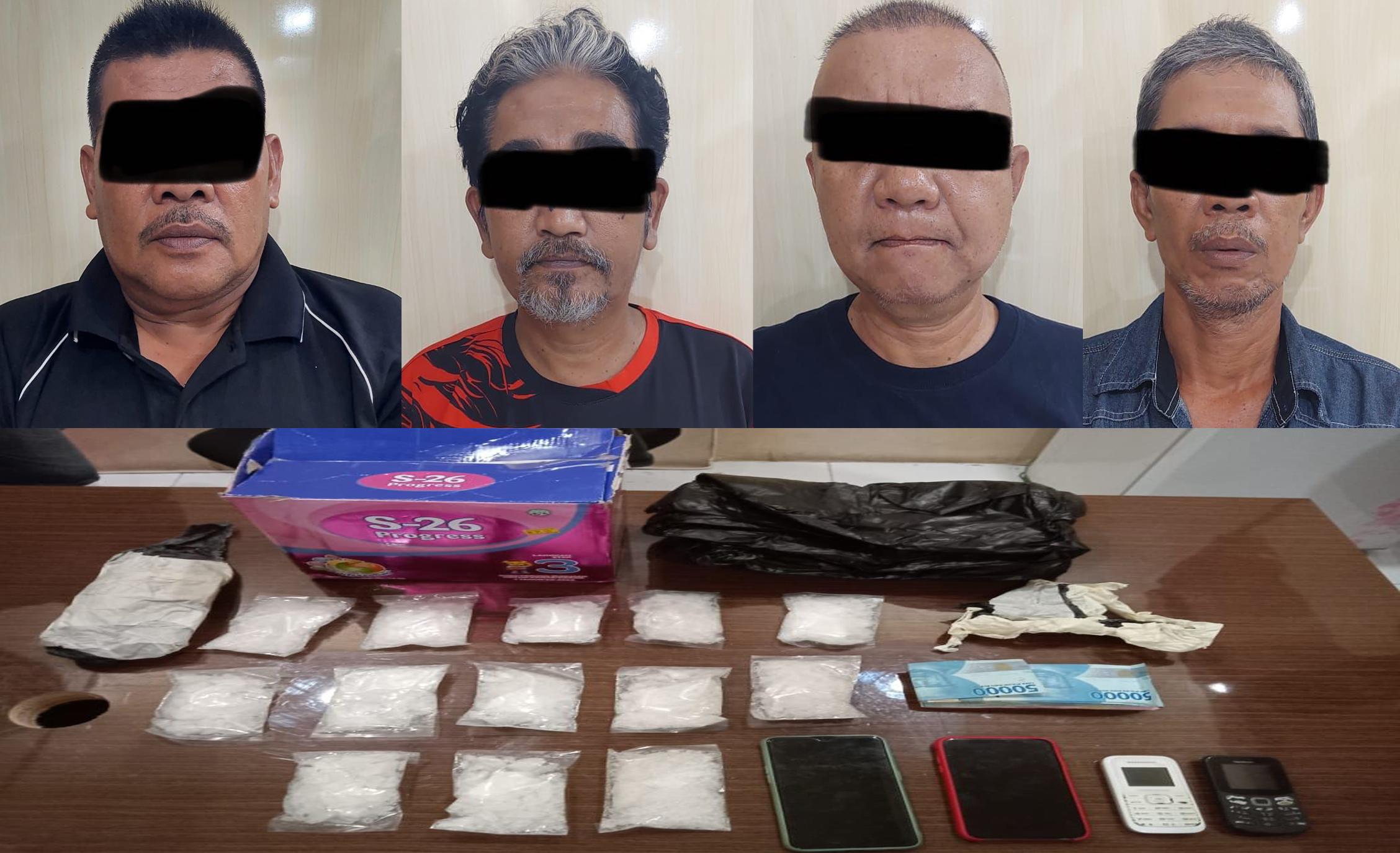 Empat Tersangka Pengedar narkotika Jenis Sabu Di Nunukan